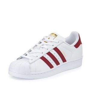 Adidas Red and White Superstar Sneakers